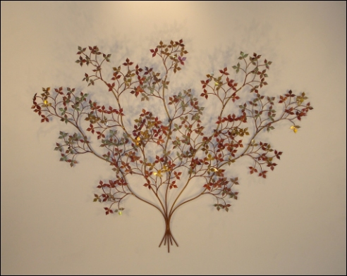 April Metal Wall Sculpture with shiny and dull brass copper leaves