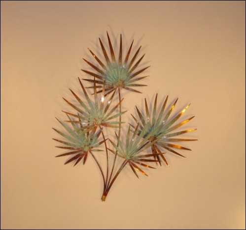 Chinese Palm Copper Metal Wall Sculpture copper and patina