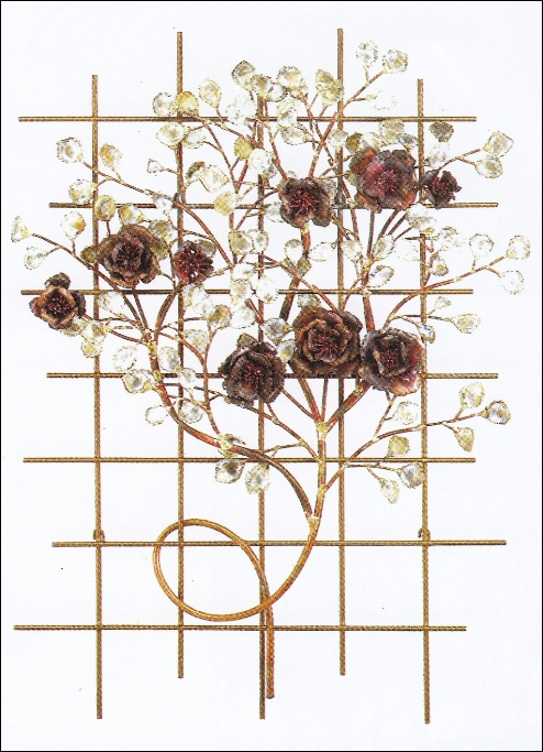 Italian Rose Garden Metal Wall Sculpture with roses