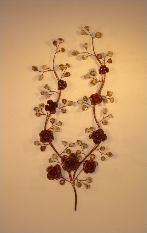 Rose Branch Metal Wall Sculpture with copper roses