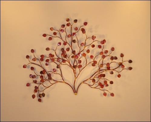 Sea Leaves Copper Wall Art with copper red leaves