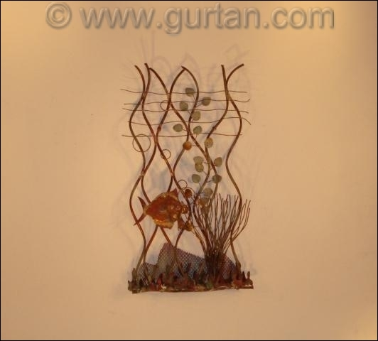 Aquarium Small Fish Metal Wall Sculpture Outdoor Single
